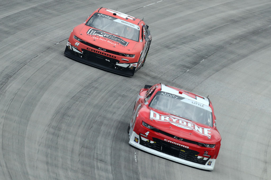 DOVER, DELAWARE - AUGUST 22: Jesse Little, driver of the #4 Drydene Chevrolet, leads Tommy Joe Martins, driver of the #44 Gilreath Farms Red Angus Chevrolet, during the NASCAR Xfinity Series Drydene 200 at Dover International Speedway on August 22, 2020 in Dover, Delaware. (Photo by Hunter Martin/Getty Images) | Getty Images
