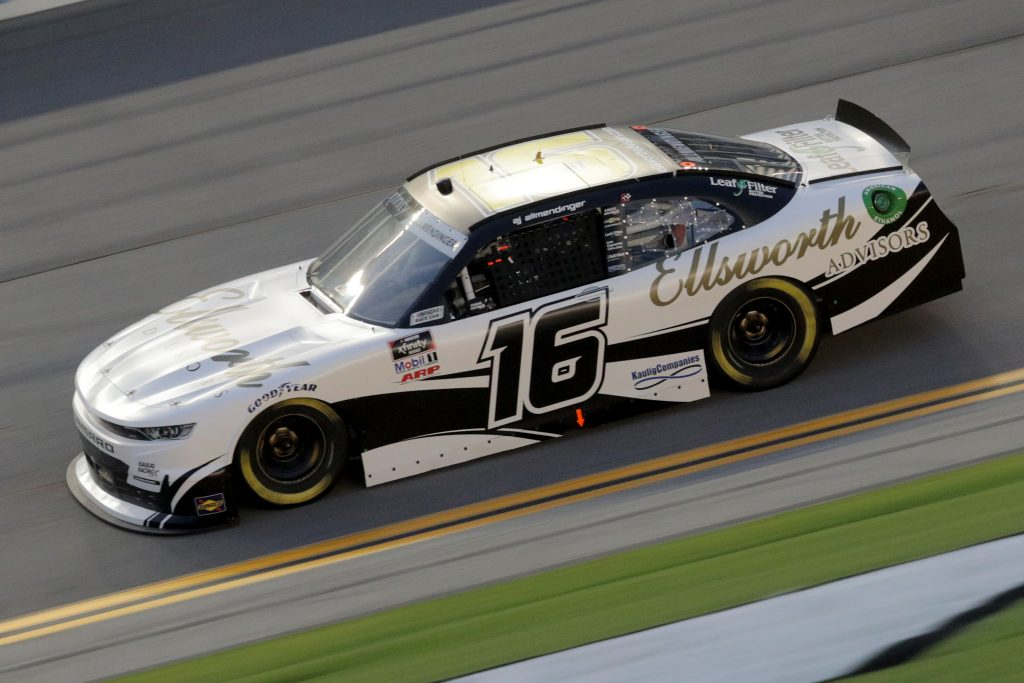 DAYTONA BEACH, FLORIDA - AUGUST 28: AJ Allmendinger, driver of the #16 Chevrolet, drives during the NASCAR Xfinity Series Wawa 250 Powered by Coca-Cola at Daytona International Speedway on August 28, 2020 in Daytona Beach, Florida. (Photo by Chris Graythen/Getty Images)   Getty Images