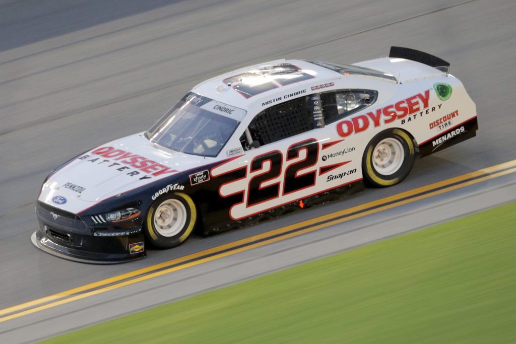 DAYTONA BEACH, FLORIDA - AUGUST 28: Austin Cindric, driver of the #22 Odyssey Battery Ford, drives during the NASCAR Xfinity Series Wawa 250 Powered by Coca-Cola at Daytona International Speedway on August 28, 2020 in Daytona Beach, Florida. (Photo by Chris Graythen/Getty Images)   Getty Images
