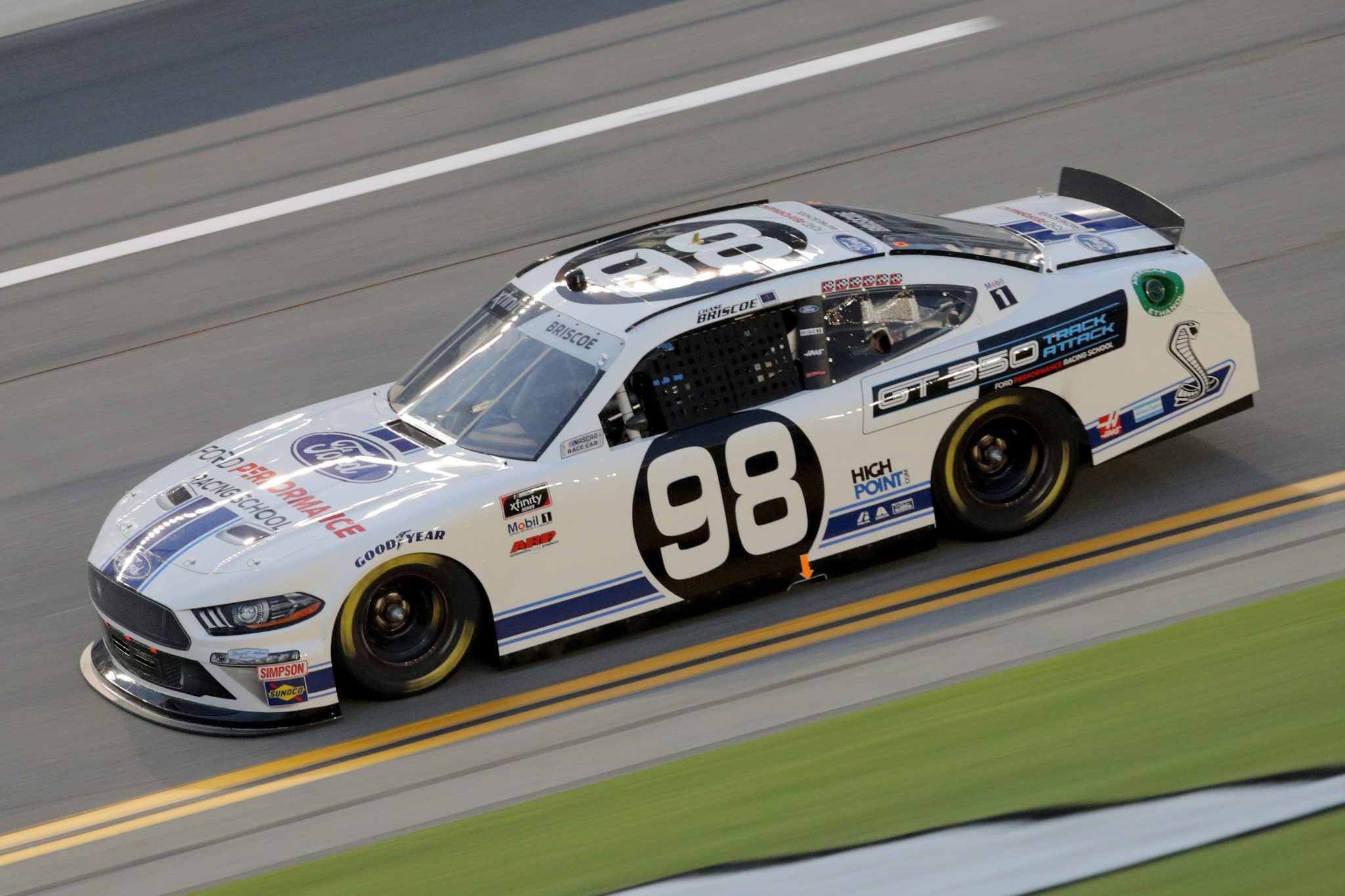DAYTONA BEACH, FLORIDA - AUGUST 28: Chase Briscoe, driver of the #98 Ford Performance Racing School Ford, drives during the NASCAR Xfinity Series Wawa 250 Powered by Coca-Cola at Daytona International Speedway on August 28, 2020 in Daytona Beach, Florida. (Photo by Chris Graythen/Getty Images) | Getty Images