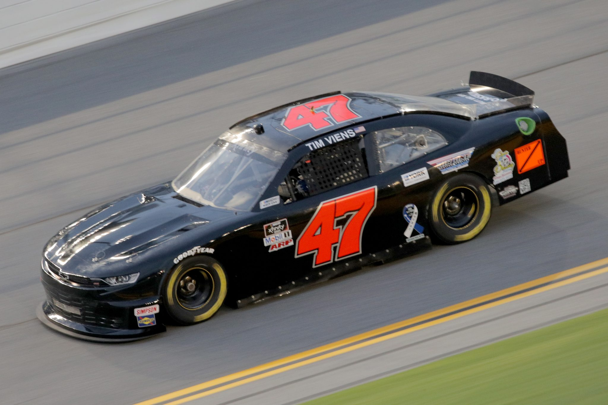 DAYTONA BEACH, FLORIDA - AUGUST 28: Tim Viens, driver of the #47 Thin Blue Line USA Chevrolet, drives during the NASCAR Xfinity Series Wawa 250 Powered by Coca-Cola at Daytona International Speedway on August 28, 2020 in Daytona Beach, Florida. (Photo by Chris Graythen/Getty Images)   Getty Images