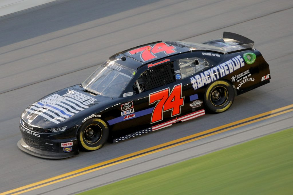 DAYTONA BEACH, FLORIDA - AUGUST 28: Mike Harmon, driver of the #74 Mutt and Jeff Porkskins Inc. Chevrolet, drives during the NASCAR Xfinity Series Wawa 250 Powered by Coca-Cola at Daytona International Speedway on August 28, 2020 in Daytona Beach, Florida. (Photo by Chris Graythen/Getty Images) | Getty Images
