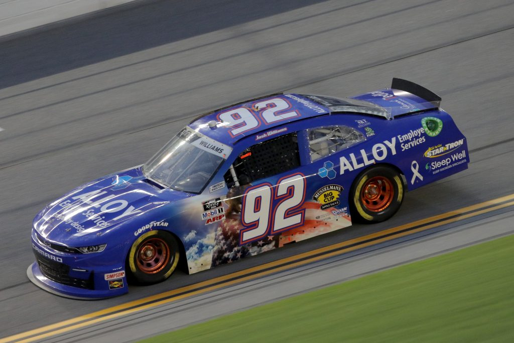 DAYTONA BEACH, FLORIDA - AUGUST 28: Josh Williams, driver of the #92 Alloy Employer Services/ProAct Chevrolet, drives during the NASCAR Xfinity Series Wawa 250 Powered by Coca-Cola at Daytona International Speedway on August 28, 2020 in Daytona Beach, Florida. (Photo by Chris Graythen/Getty Images) | Getty Images