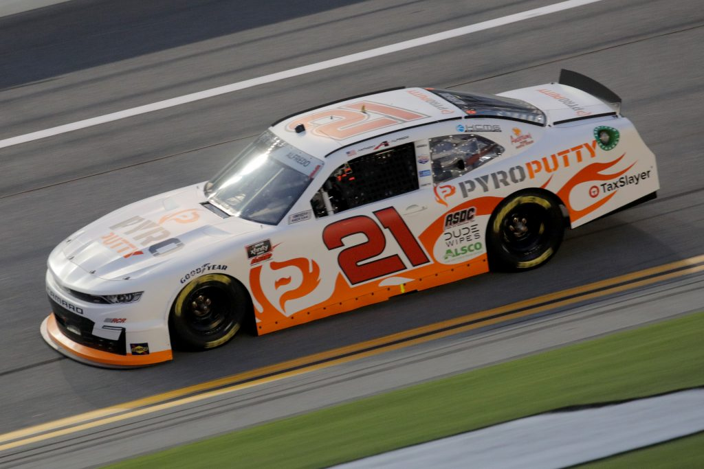 DAYTONA BEACH, FLORIDA - AUGUST 28: Anthony Alfredo, driver of the #21 Pyro Putty Chevrolet, drives during the NASCAR Xfinity Series Wawa 250 Powered by Coca-Cola at Daytona International Speedway on August 28, 2020 in Daytona Beach, Florida. (Photo by Chris Graythen/Getty Images)   Getty Images