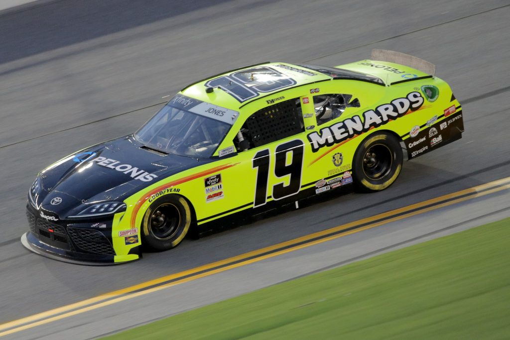 DAYTONA BEACH, FLORIDA - AUGUST 28: Brandon Jones, driver of the #19 Menards/Pelonis Toyota, drives during the NASCAR Xfinity Series Wawa 250 Powered by Coca-Cola at Daytona International Speedway on August 28, 2020 in Daytona Beach, Florida. (Photo by Chris Graythen/Getty Images) | Getty Images