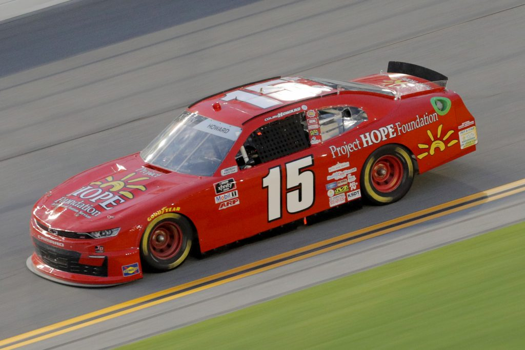 DAYTONA BEACH, FLORIDA - AUGUST 28: Colby Howard, driver of the #15 Project Hope Foundation Chevrolet, drives during the NASCAR Xfinity Series Wawa 250 Powered by Coca-Cola at Daytona International Speedway on August 28, 2020 in Daytona Beach, Florida. (Photo by Chris Graythen/Getty Images) | Getty Images