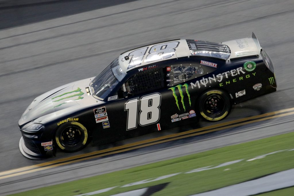 DAYTONA BEACH, FLORIDA - AUGUST 28: Riley Herbst, driver of the #18 Monster Energy Toyota, drives during the NASCAR Xfinity Series Wawa 250 Powered by Coca-Cola at Daytona International Speedway on August 28, 2020 in Daytona Beach, Florida. (Photo by Chris Graythen/Getty Images)   Getty Images