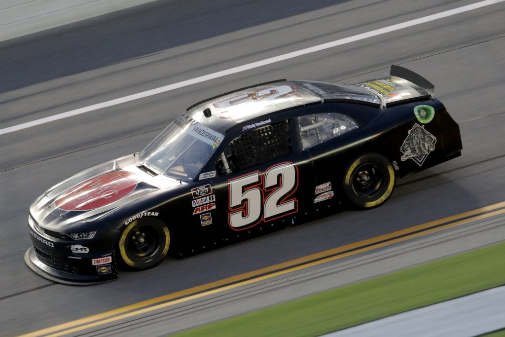 DAYTONA BEACH, FLORIDA - AUGUST 28: Kody Vanderwal, driver of the #52 Advanced Dairy Services Chevrolet, drives during the NASCAR Xfinity Series Wawa 250 Powered by Coca-Cola at Daytona International Speedway on August 28, 2020 in Daytona Beach, Florida. (Photo by Chris Graythen/Getty Images)   Getty Images