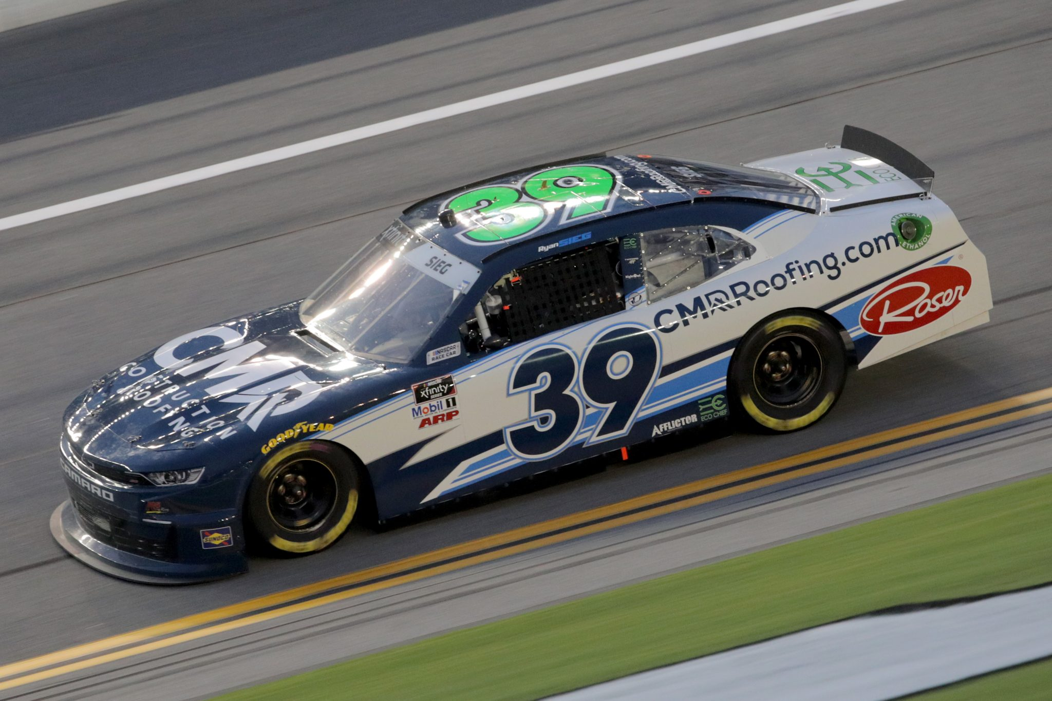 DAYTONA BEACH, FLORIDA - AUGUST 28: Ryan Sieg, driver of the #39 CMRRoofing.com Chevrolet, drives during the NASCAR Xfinity Series Wawa 250 Powered by Coca-Cola at Daytona International Speedway on August 28, 2020 in Daytona Beach, Florida. (Photo by Chris Graythen/Getty Images) | Getty Images