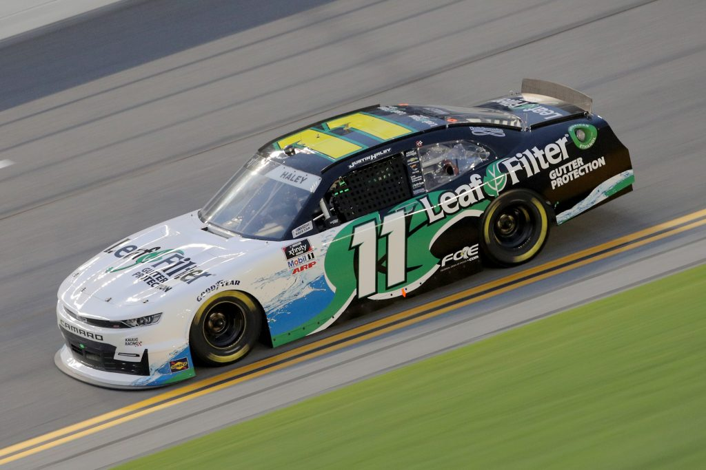 DAYTONA BEACH, FLORIDA - AUGUST 28: Justin Haley, driver of the #11 LeafFilter Gutter Protection Chevrolet, drives during the NASCAR Xfinity Series Wawa 250 Powered by Coca-Cola at Daytona International Speedway on August 28, 2020 in Daytona Beach, Florida. (Photo by Chris Graythen/Getty Images)   Getty Images