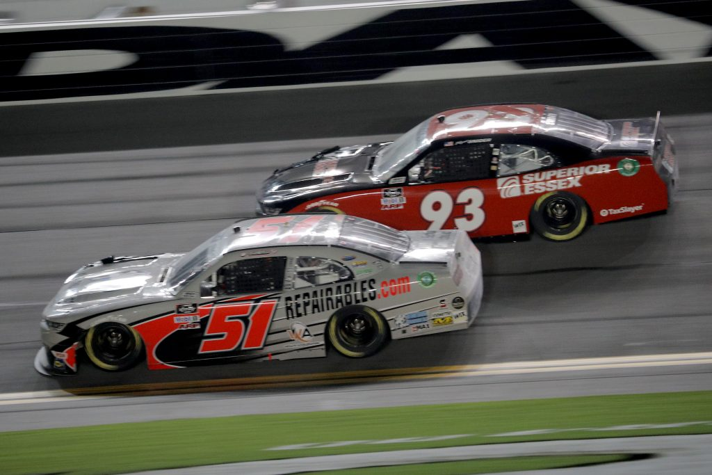 DAYTONA BEACH, FLORIDA - AUGUST 28: Jeremy Clements, driver of the #51 All South Electric Chevrolet, and Myatt Snider, driver of the #93 ShoreLunch Chevrolet, race during the NASCAR Xfinity Series Wawa 250 Powered by Coca-Cola at Daytona International Speedway on August 28, 2020 in Daytona Beach, Florida. (Photo by Chris Graythen/Getty Images) | Getty Images