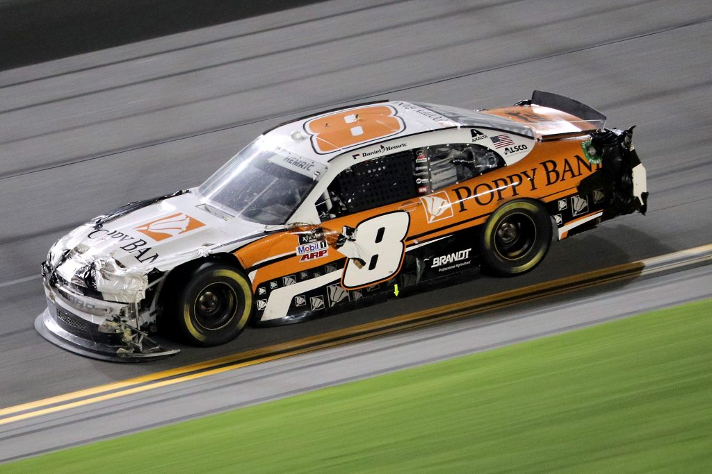 DAYTONA BEACH, FLORIDA - AUGUST 28: Daniel Hemric, driver of the #8 Poppy Bank Chevrolet, drives during the NASCAR Xfinity Series Wawa 250 Powered by Coca-Cola at Daytona International Speedway on August 28, 2020 in Daytona Beach, Florida. (Photo by Chris Graythen/Getty Images)   Getty Images