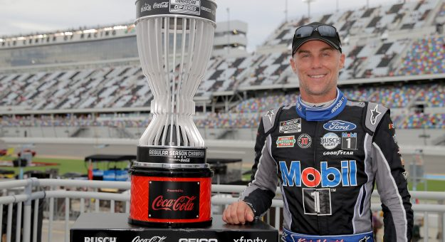 DAYTONA BEACH, FLORIDA - AUGUST 29: Kevin Harvick, driver of the #4 Mobil 1 Ford, poses for a photo after being awarded the 2020 NASCAR Cup Series regular season championship prior during the NASCAR Cup Series Coke Zero Sugar 400 at Daytona International Speedway on August 29, 2020 in Daytona Beach, Florida. (Photo by Chris Graythen/Getty Images) | Getty Images