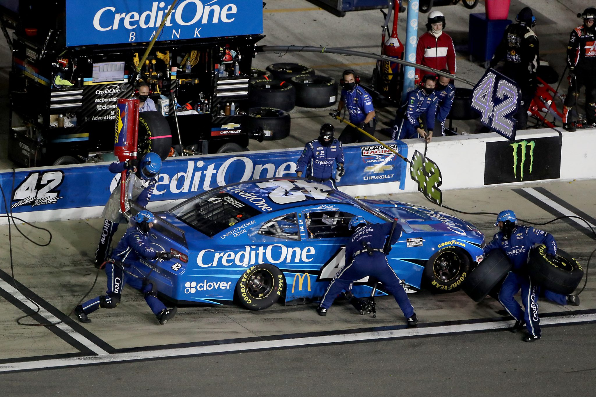DAYTONA BEACH, FLORIDA - AUGUST 29: Matt Kenseth, driver of the #42 Credit One Bank Chevrolet, pits during the NASCAR Cup Series Coke Zero Sugar 400 at Daytona International Speedway on August 29, 2020 in Daytona Beach, Florida. (Photo by Brian Lawdermilk/Getty Images) | Getty Images