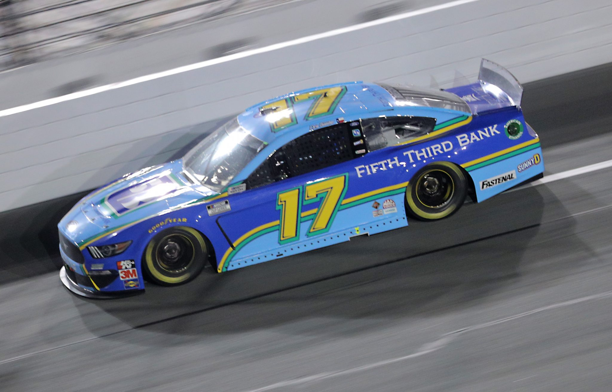 DAYTONA BEACH, FLORIDA - AUGUST 29: Chris Buescher, driver of the #17 Fifth Third Bank Ford, races during the NASCAR Cup Series Coke Zero Sugar 400 at Daytona International Speedway on August 29, 2020 in Daytona Beach, Florida. (Photo by Chris Graythen/Getty Images) | Getty Images