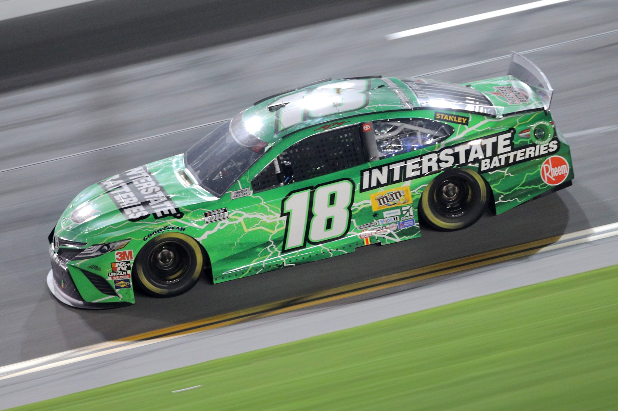 DAYTONA BEACH, FLORIDA - AUGUST 29: Kyle Busch, driver of the #18 Interstate Batteries Toyota, races during the NASCAR Cup Series Coke Zero Sugar 400 at Daytona International Speedway on August 29, 2020 in Daytona Beach, Florida. (Photo by Chris Graythen/Getty Images) | Getty Images