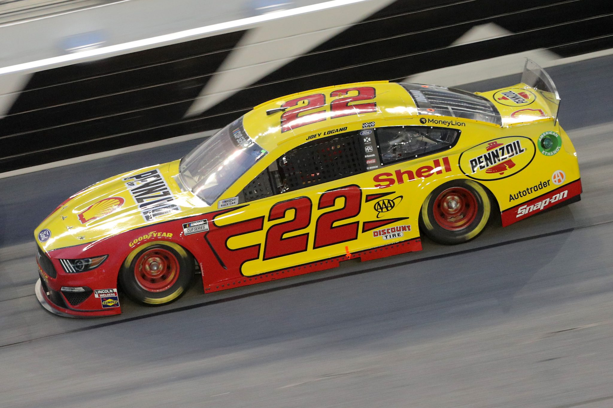 DAYTONA BEACH, FLORIDA - AUGUST 29: Joey Logano, driver of the #22 Shell Pennzoil Ford, drives during the NASCAR Cup Series Coke Zero Sugar 400 at Daytona International Speedway on August 29, 2020 in Daytona Beach, Florida. (Photo by Chris Graythen/Getty Images) | Getty Images
