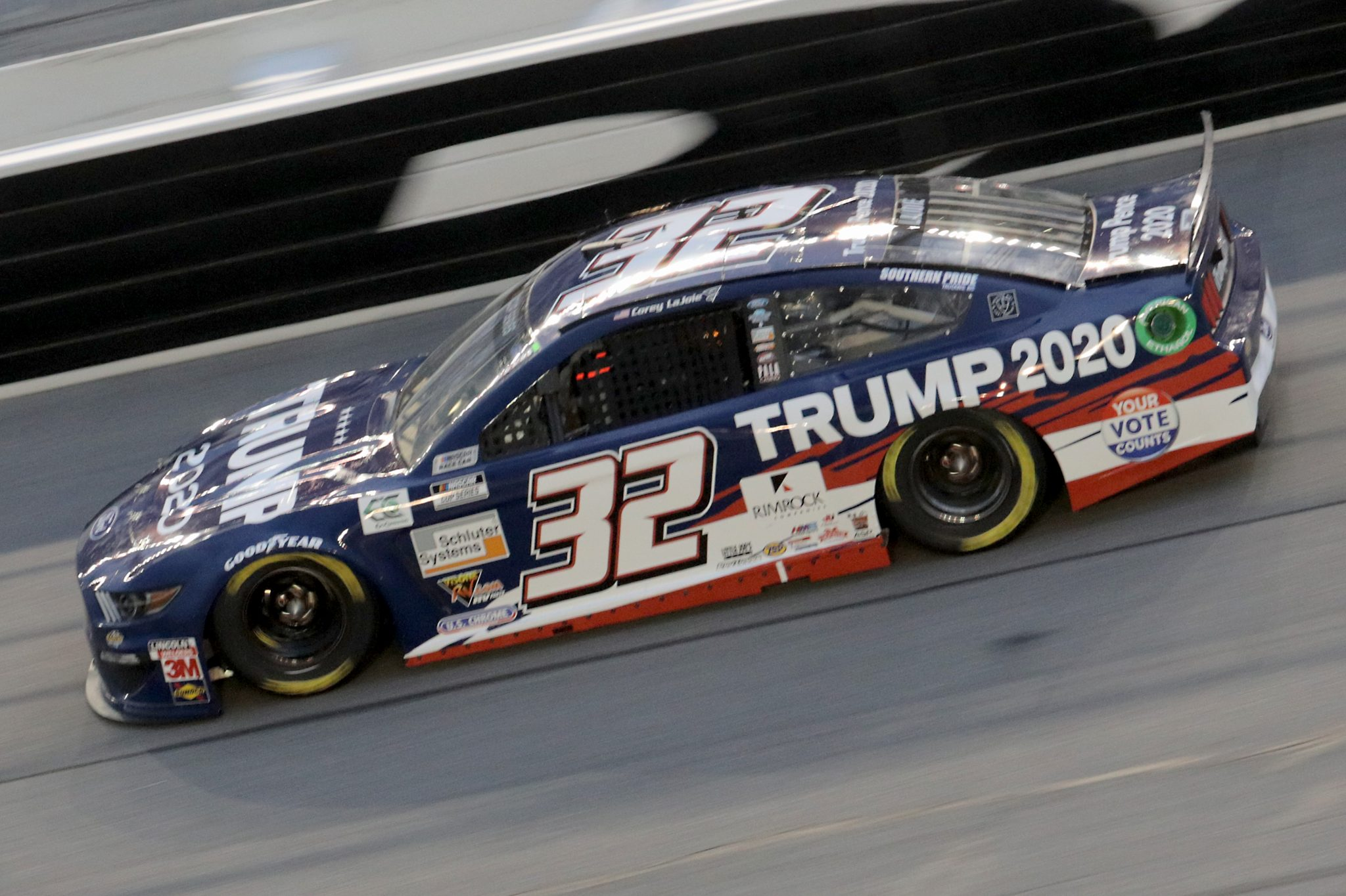 DAYTONA BEACH, FLORIDA - AUGUST 29: Corey LaJoie, driver of the #32 Trump 2020 Ford, drives during the NASCAR Cup Series Coke Zero Sugar 400 at Daytona International Speedway on August 29, 2020 in Daytona Beach, Florida. (Photo by Chris Graythen/Getty Images) | Getty Images