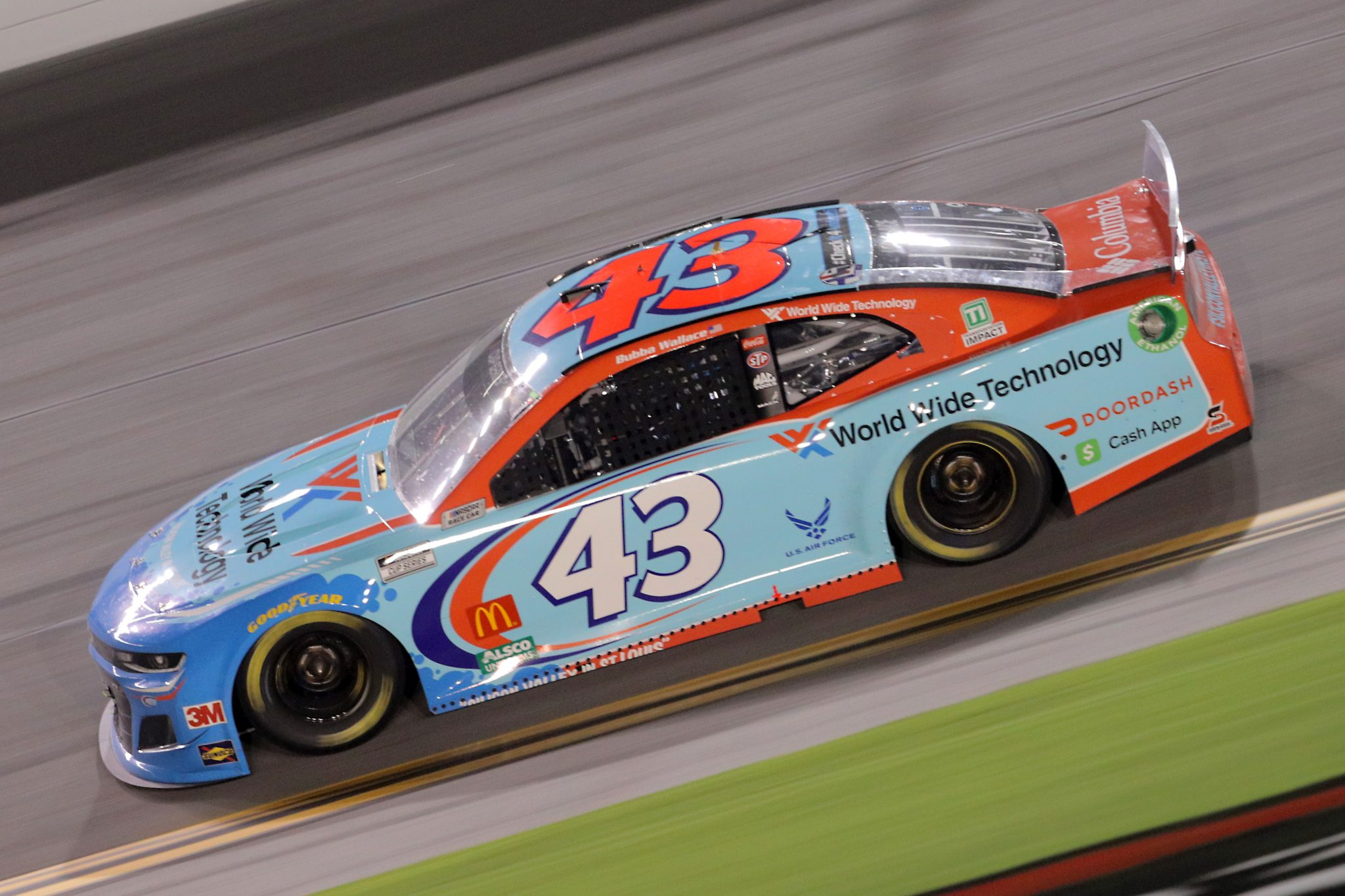 DAYTONA BEACH, FLORIDA - AUGUST 29: Bubba Wallace, driver of the #43 World Wide Technology Chevrolet, races during the NASCAR Cup Series Coke Zero Sugar 400 at Daytona International Speedway on August 29, 2020 in Daytona Beach, Florida. (Photo by Chris Graythen/Getty Images) | Getty Images