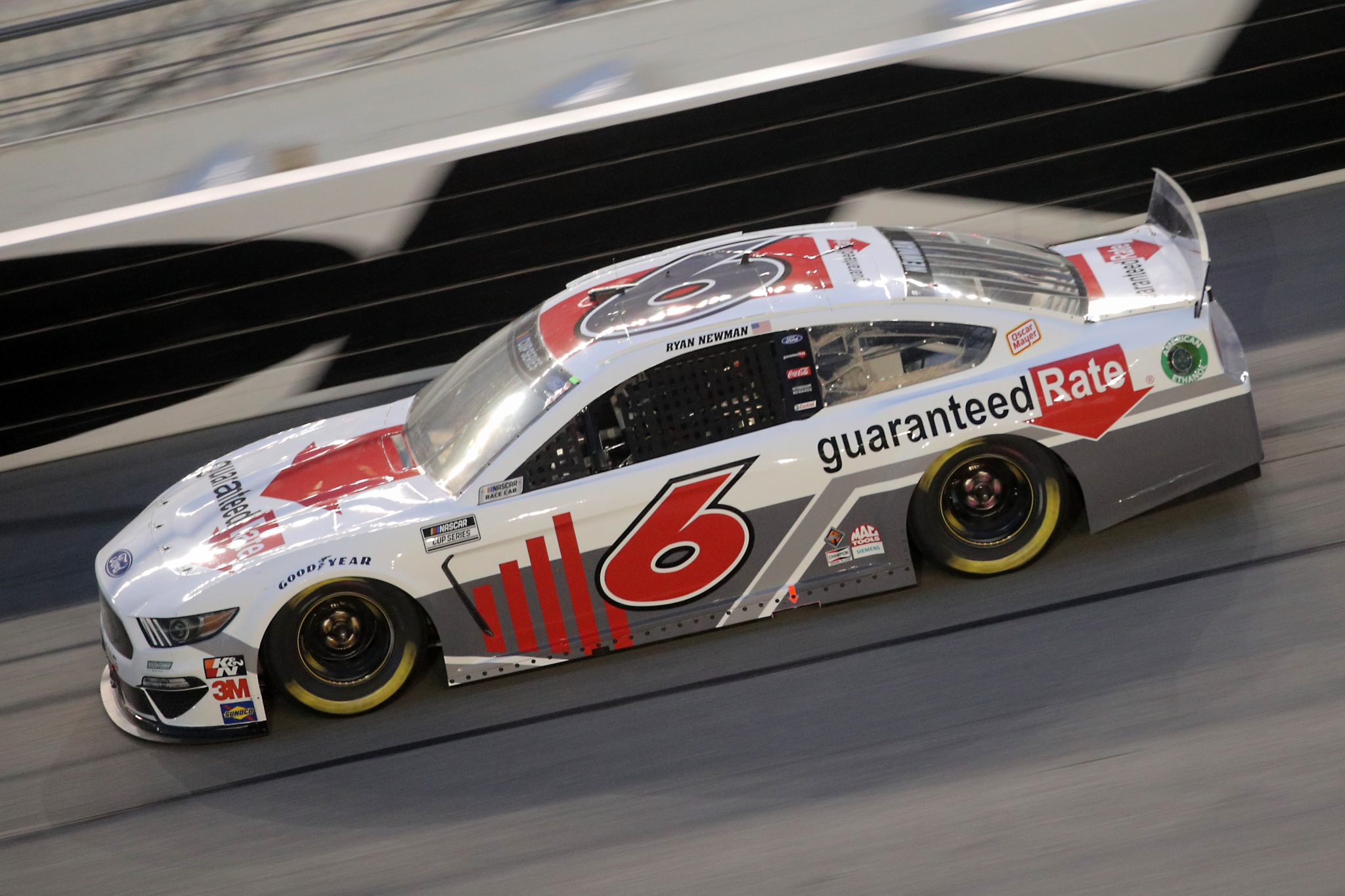 DAYTONA BEACH, FLORIDA - AUGUST 29: Ryan Newman, driver of the #6 Guaranteed Rate Ford, drives during the NASCAR Cup Series Coke Zero Sugar 400 at Daytona International Speedway on August 29, 2020 in Daytona Beach, Florida. (Photo by Chris Graythen/Getty Images) | Getty Images