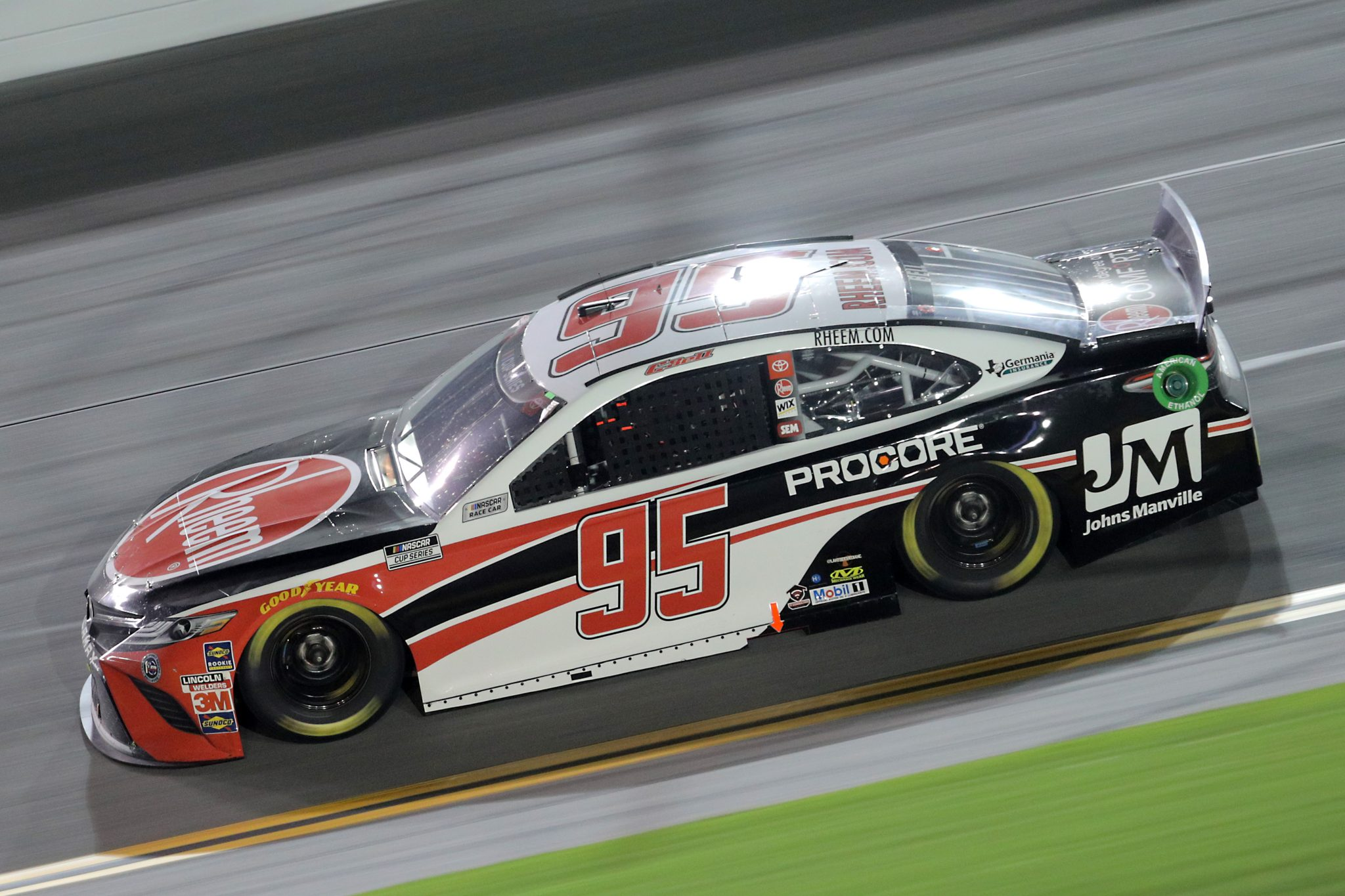 DAYTONA BEACH, FLORIDA - AUGUST 29: Christopher Bell, driver of the #95 Rheem/Johns Manville Toyota, races during the NASCAR Cup Series Coke Zero Sugar 400 at Daytona International Speedway on August 29, 2020 in Daytona Beach, Florida. (Photo by Chris Graythen/Getty Images) | Getty Images