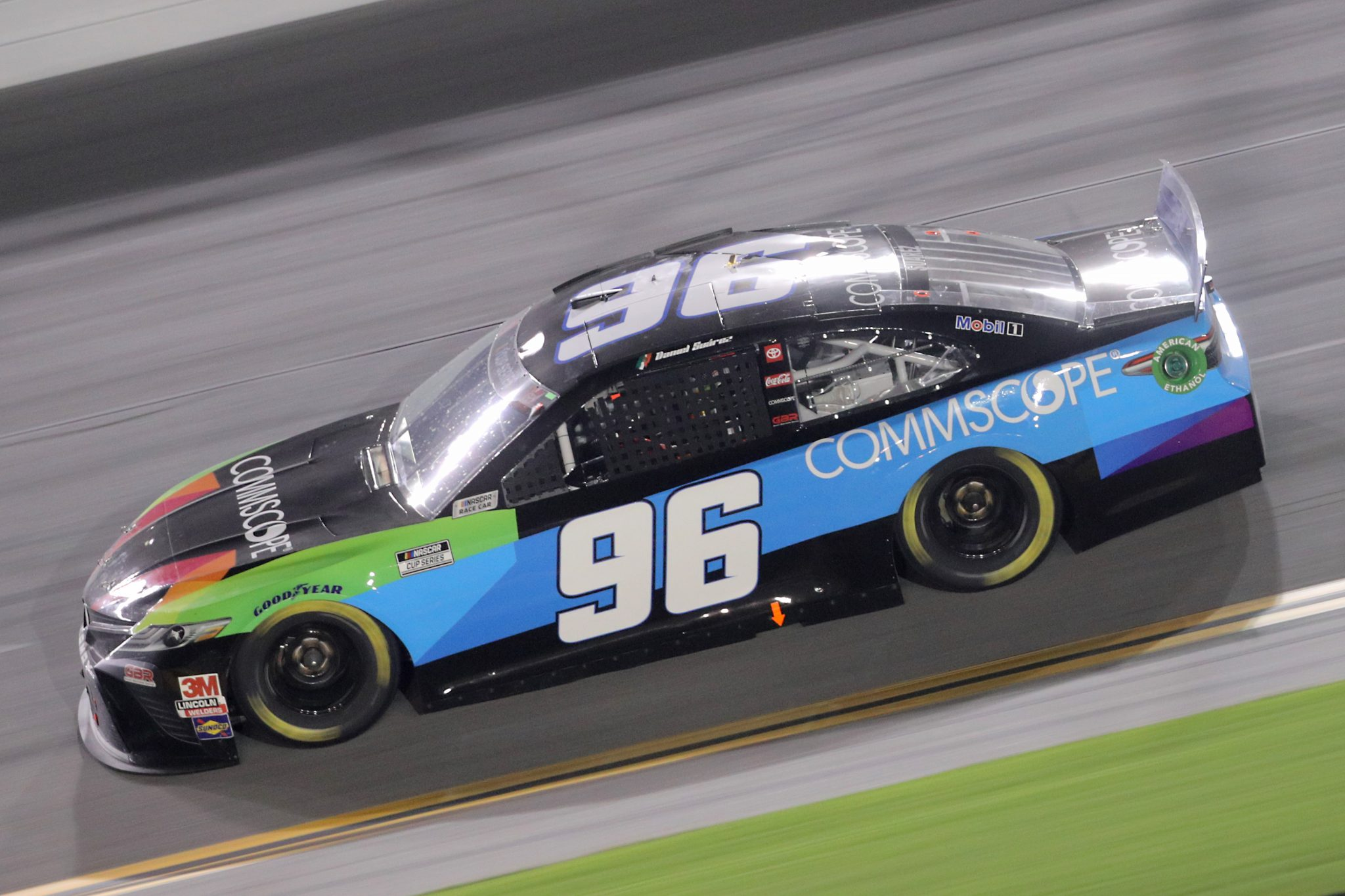 DAYTONA BEACH, FLORIDA - AUGUST 29: Daniel Suarez, driver of the #96 CommScope Toyota, races during the NASCAR Cup Series Coke Zero Sugar 400 at Daytona International Speedway on August 29, 2020 in Daytona Beach, Florida. (Photo by Chris Graythen/Getty Images) | Getty Images