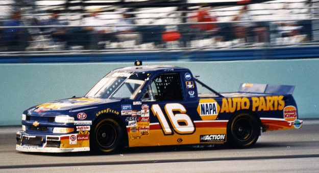 1990s:  Ron Hornaday, Jr. at the wheel of his Dale Earnhart, Inc. NAPA Chevrolet Silverado during a NASCAR Truck race in the late 1990s. Hornaday won the NASCAR Truck Series championship for the team in both 1996 and 1998. (Photo by ISC Images & Archives via Getty Images)