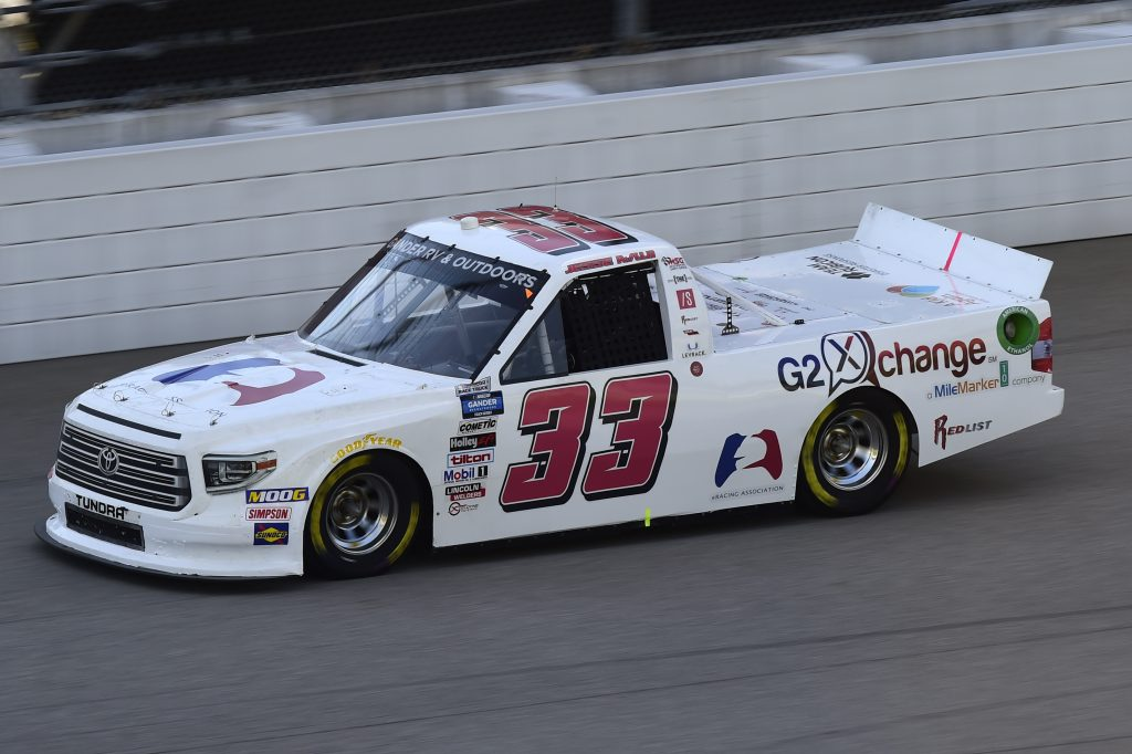 BROOKLYN, MICHIGAN - AUGUST 07: Jesse Iwuji, driver of the #33 G2 Xchange Toyota, drives during the NASCAR Gander RV & Outdoors Truck Series Henry Ford Health System 200 at Michigan International Speedway on August 07, 2020 in Brooklyn, Michigan. (Photo by Jared C. Tilton/Getty Images)   Getty Images