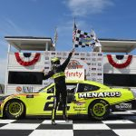 ELKHART LAKE, WISCONSIN - AUGUST 08:  Austin Cindric, driver of the #22 Menards/Richmond Ford, celebrates in Victory Lane after winning the NASCAR Xfinity Series Henry 180 at Road America on August 08, 2020 in Elkhart Lake, Wisconsin. (Photo by Stacy Revere/Getty Images)   Getty Images
