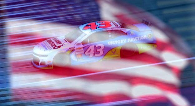 BROOKLYN, MICHIGAN - AUGUST 08:  (EDITORS NOTE: Image was captured using in camera double exposure)  Bubba Wallace, driver of the #43 Victory Junction Chevrolet, drives during the NASCAR Cup Series FireKeepers Casino 400 at Michigan International Speedway on August 08, 2020 in Brooklyn, Michigan. (Photo by Jared C. Tilton/Getty Images) | Getty Images