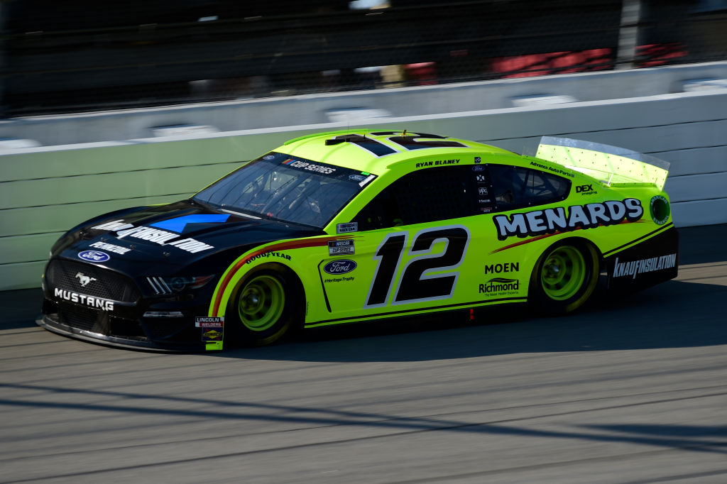 BROOKLYN, MICHIGAN - AUGUST 08: Ryan Blaney, driver of the #12 Menards/Knauf Ford, drives during the NASCAR Cup Series FireKeepers Casino 400 at Michigan at Michigan International Speedway on August 08, 2020 in Brooklyn, Michigan. (Photo by Jared C. Tilton/Getty Images) | Getty Images
