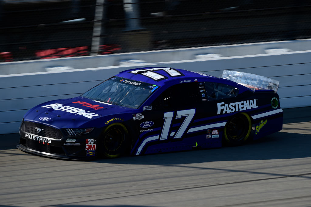 BROOKLYN, MICHIGAN - AUGUST 08: Chris Buescher, driver of the #17 Fastenal Ford, drives during the NASCAR Cup Series FireKeepers Casino 400 at Michigan at Michigan International Speedway on August 08, 2020 in Brooklyn, Michigan. (Photo by Jared C. Tilton/Getty Images)   Getty Images