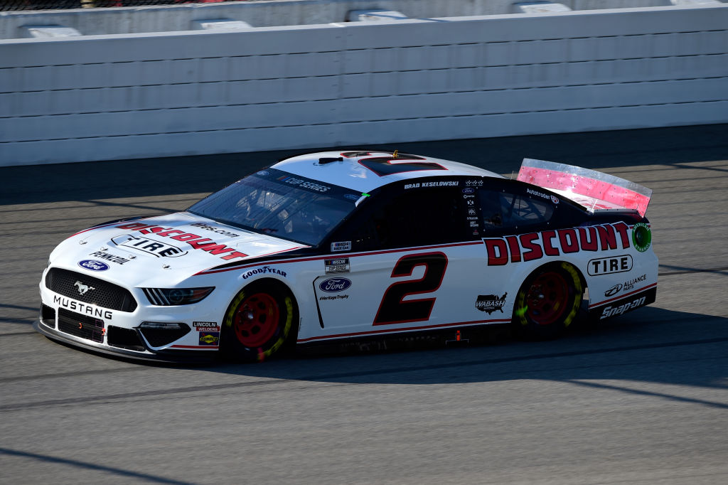 BROOKLYN, MICHIGAN - AUGUST 08: Brad Keselowski, driver of the #2 Discount Tire Ford, drives during the NASCAR Cup Series FireKeepers Casino 400 at Michigan at Michigan International Speedway on August 08, 2020 in Brooklyn, Michigan. (Photo by Jared C. Tilton/Getty Images) | Getty Images