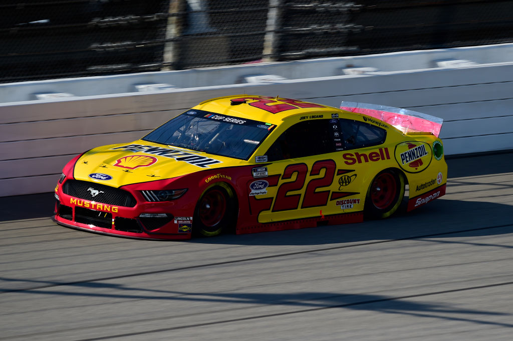 BROOKLYN, MICHIGAN - AUGUST 08: Joey Logano, driver of the #22 Shell Pennzoil Ford, drives during the NASCAR Cup Series FireKeepers Casino 400 at Michigan at Michigan International Speedway on August 08, 2020 in Brooklyn, Michigan. (Photo by Jared C. Tilton/Getty Images) | Getty Images