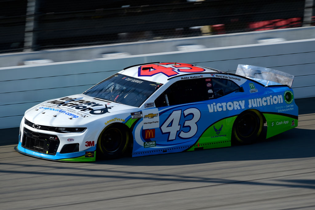 BROOKLYN, MICHIGAN - AUGUST 08: Bubba Wallace, driver of the #43 Victory Junction Chevrolet, drives during the NASCAR Cup Series FireKeepers Casino 400 at Michigan at Michigan International Speedway on August 08, 2020 in Brooklyn, Michigan. (Photo by Jared C. Tilton/Getty Images) | Getty Images