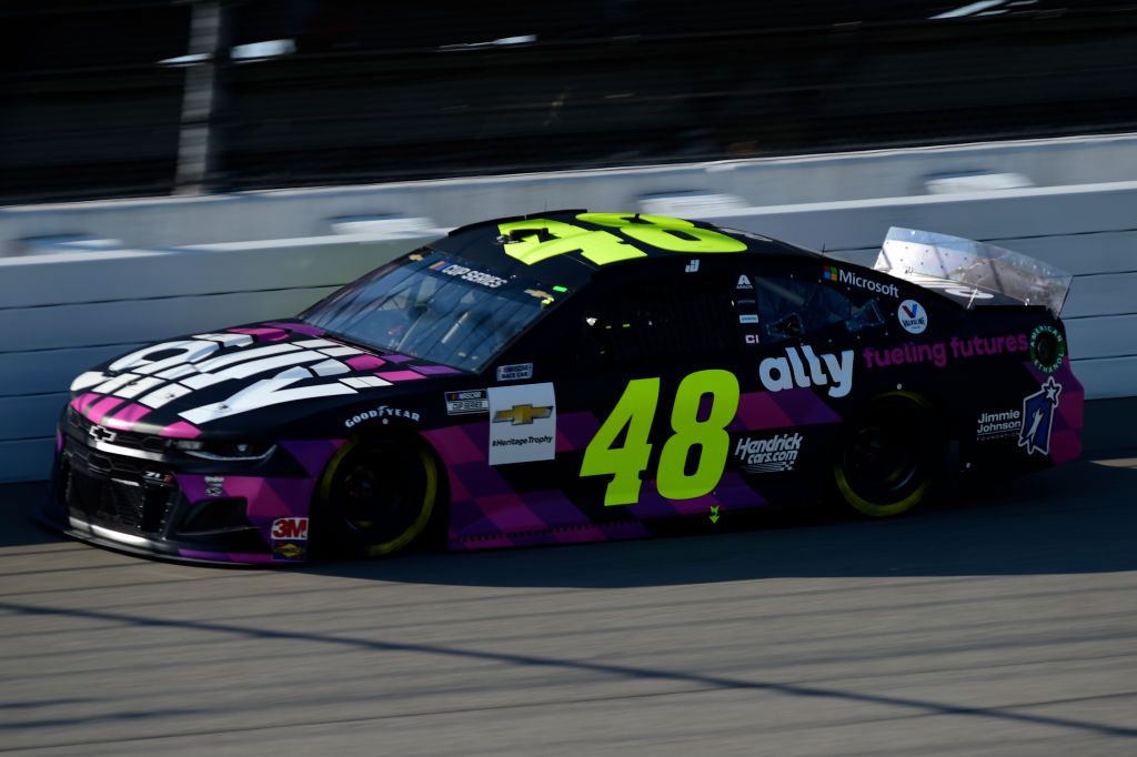 BROOKLYN, MICHIGAN - AUGUST 08: Jimmie Johnson, driver of the #48 Ally Fueling Futures Chevrolet, drives during the NASCAR Cup Series FireKeepers Casino 400 at Michigan at Michigan International Speedway on August 08, 2020 in Brooklyn, Michigan. (Photo by Jared C. Tilton/Getty Images) | Getty Images
