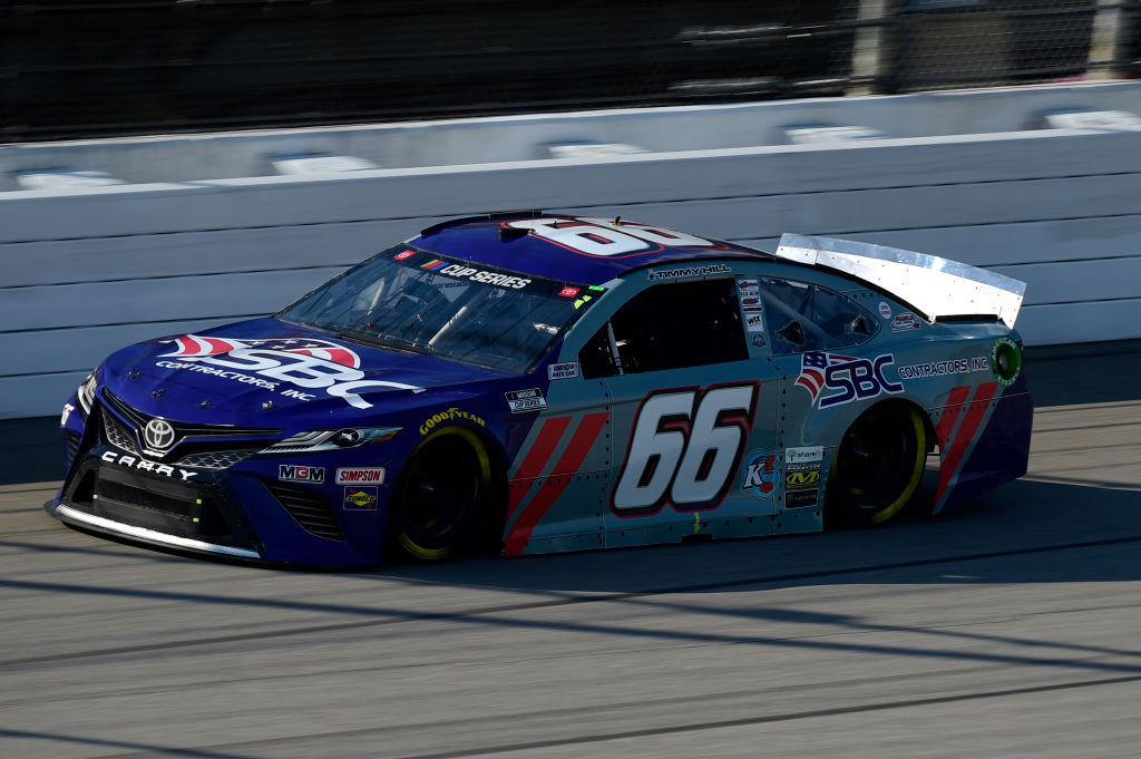 BROOKLYN, MICHIGAN - AUGUST 08: Timmy Hill, driver of the #66 SBC Contactors Inc. Toyota, drives during the NASCAR Cup Series FireKeepers Casino 400 at Michigan at Michigan International Speedway on August 08, 2020 in Brooklyn, Michigan. (Photo by Jared C. Tilton/Getty Images) | Getty Images