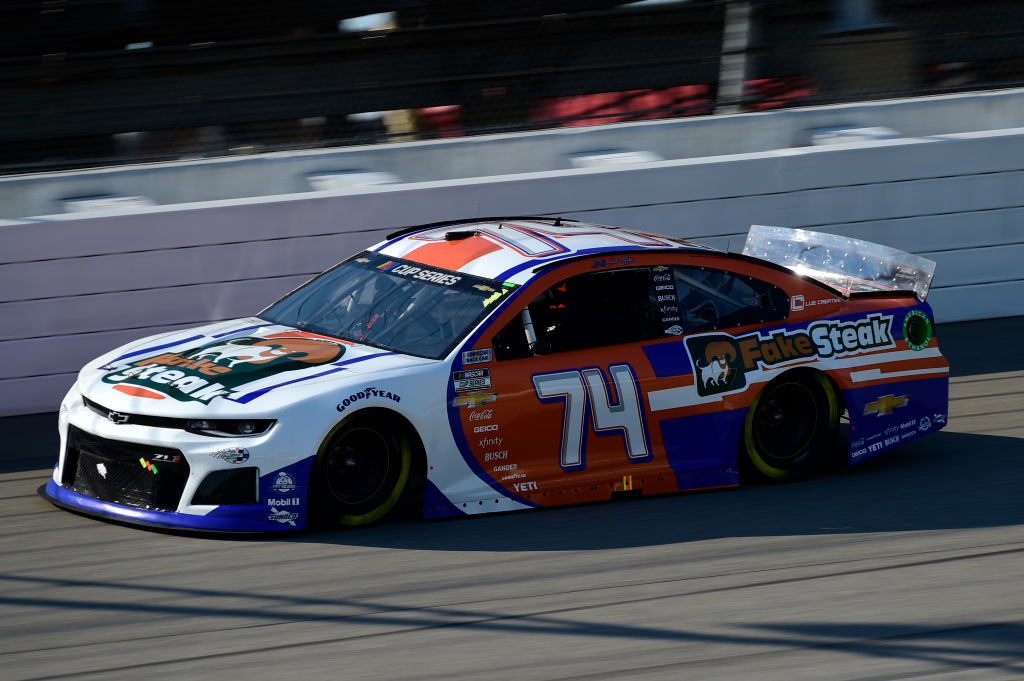 BROOKLYN, MICHIGAN - AUGUST 08: Reed Sorenson, driver of the #74 Fake Steak Chevrolet, drives during the NASCAR Cup Series FireKeepers Casino 400 at Michigan at Michigan International Speedway on August 08, 2020 in Brooklyn, Michigan. (Photo by Jared C. Tilton/Getty Images) | Getty Images