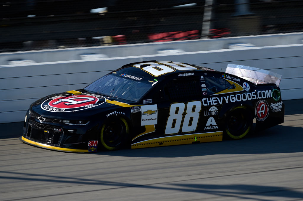 BROOKLYN, MICHIGAN - AUGUST 08: Alex Bowman, driver of the #88 ChevyGoods.com/Adam's Polishes Chevrolet, drives during the NASCAR Cup Series FireKeepers Casino 400 at Michigan at Michigan International Speedway on August 08, 2020 in Brooklyn, Michigan. (Photo by Jared C. Tilton/Getty Images) | Getty Images