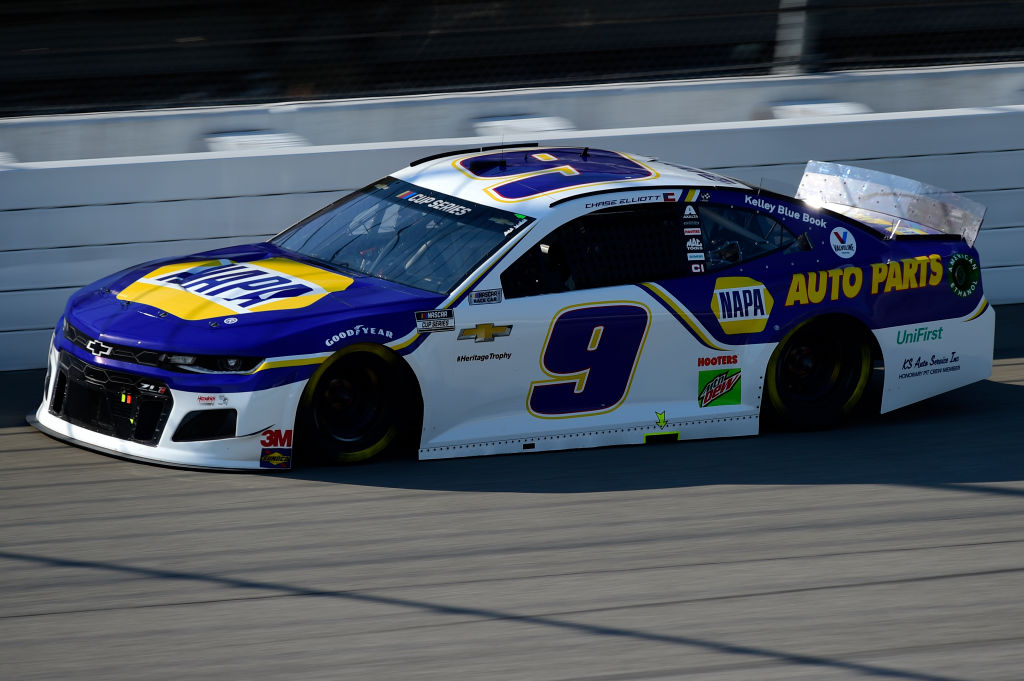 BROOKLYN, MICHIGAN - AUGUST 08: Chase Elliott, driver of the #9 NAPA Auto Parts Chevrolet, drives during the NASCAR Cup Series FireKeepers Casino 400 at Michigan at Michigan International Speedway on August 08, 2020 in Brooklyn, Michigan. (Photo by Jared C. Tilton/Getty Images) | Getty Images