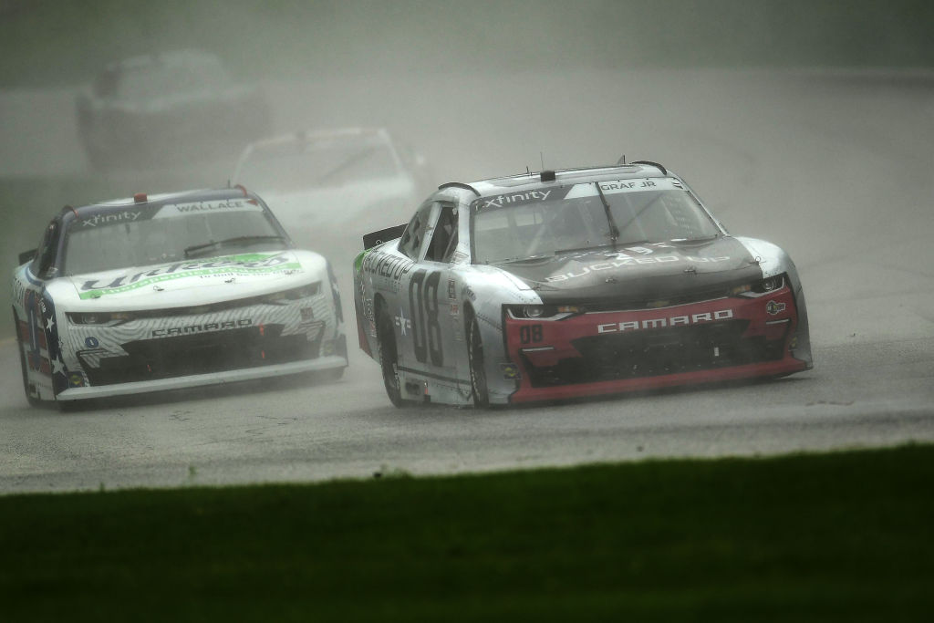 ELKHART LAKE, WISCONSIN - AUGUST 08: Joe Graf Jr., driver of the #08 Bucked Up Energy Chevrolet, leads a pack of cars during the NASCR Xfinity Series Henry 180 at Road America on August 08, 2020 in Elkhart Lake, Wisconsin. (Photo by Stacy Revere/Getty Images) | Getty Images