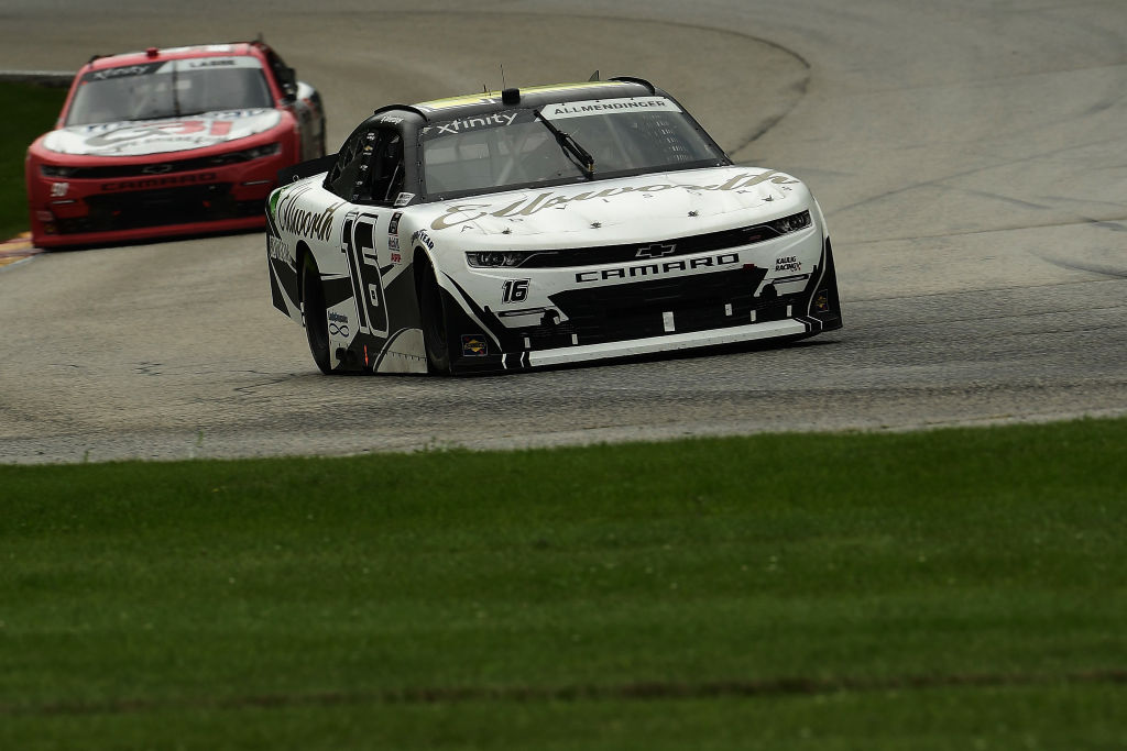 ELKHART LAKE, WISCONSIN - AUGUST 08: A.J. Allmendinger, driver of the #16 Ellsworth Advisors Chevrolet, leads Alex Labbe, driver of the #90 Frameco/Prolon/rousseau Chevrolet, during the NASCAR Xfinity Series Henry 180 at Road America on August 08, 2020 in Elkhart Lake, Wisconsin. (Photo by Stacy Revere/Getty Images) | Getty Images