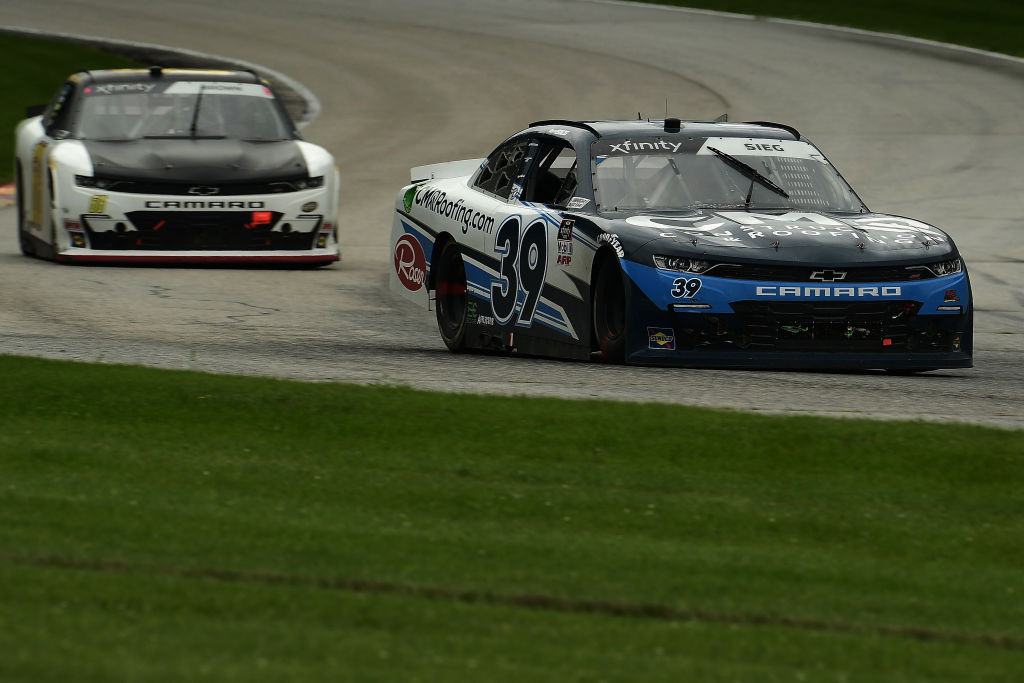 ELKHART LAKE, WISCONSIN - AUGUST 08: Ryan Sieg, driver of the #39 CMR Roofing.com Chevrolet, races during the NASCAR Xfinity Series Henry 180 at Road America on August 08, 2020 in Elkhart Lake, Wisconsin. (Photo by Stacy Revere/Getty Images) | Getty Images