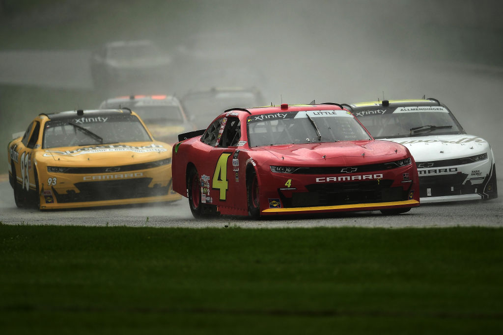 ELKHART LAKE, WISCONSIN - AUGUST 08: Jesse Little, driver of the #4 JD Motorsports Chevrolet, leads a pack of cars during the NASCR Xfinity Series Henry 180 at Road America on August 08, 2020 in Elkhart Lake, Wisconsin. (Photo by Stacy Revere/Getty Images) | Getty Images