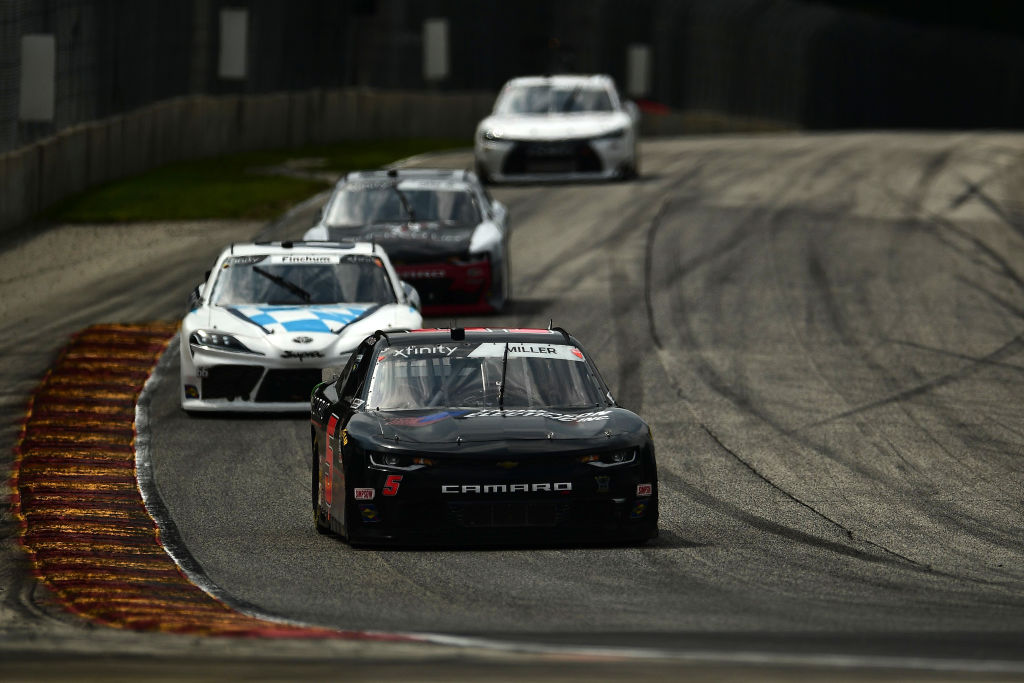 ELKHART LAKE, WISCONSIN - AUGUST 08: Vinne Miller, driver of the #5 Thompson Electric/JF Electric Chevrolet, leads a pack of cars during the NASCAR Xfinity Series Henry 180 at Road America on August 08, 2020 in Elkhart Lake, Wisconsin. (Photo by Stacy Revere/Getty Images) | Getty Images