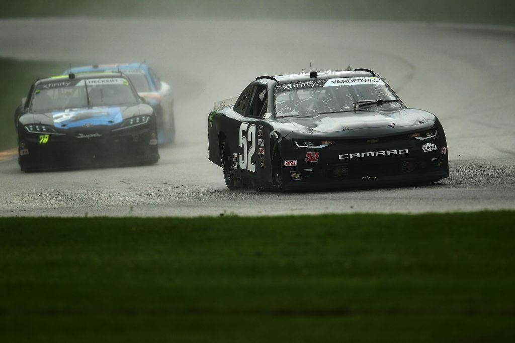ELKHART LAKE, WISCONSIN - AUGUST 08: Kody Vanderwal, driver of the #52 ADVANCED DAIRY SERVICES Chevrolet, leads a pack of cars during the NASCR Xfinity Series Henry 180 at Road America on August 08, 2020 in Elkhart Lake, Wisconsin. (Photo by Stacy Revere/Getty Images) | Getty Images