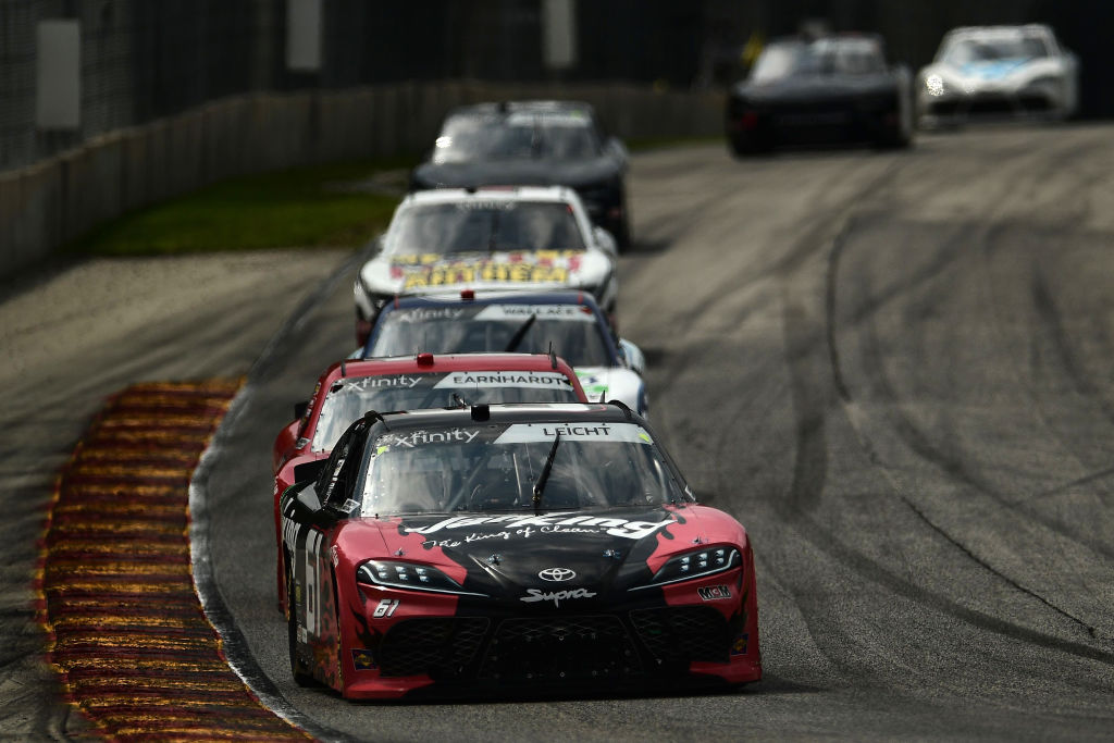 ELKHART LAKE, WISCONSIN - AUGUST 08: Stephen Leicht, driver of the #61 ROOFCLAIM.COM Toyota, leads a pack of cars during the NASCAR Xfinity Series Henry 180 at Road America on August 08, 2020 in Elkhart Lake, Wisconsin. (Photo by Stacy Revere/Getty Images) | Getty Images