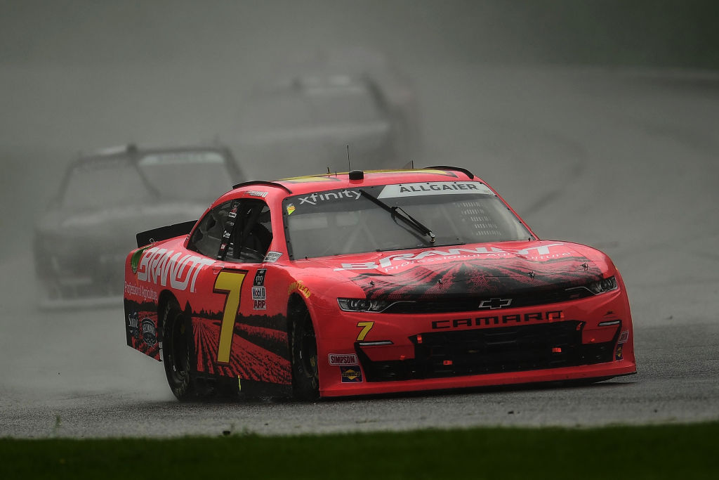 ELKHART LAKE, WISCONSIN - AUGUST 08: Justin Allgaier, driver of the #7 BRANDT Chevrolet, leads a pack of cars during the NASCR Xfinity Series Henry 180 at Road America on August 08, 2020 in Elkhart Lake, Wisconsin. (Photo by Stacy Revere/Getty Images) | Getty Images