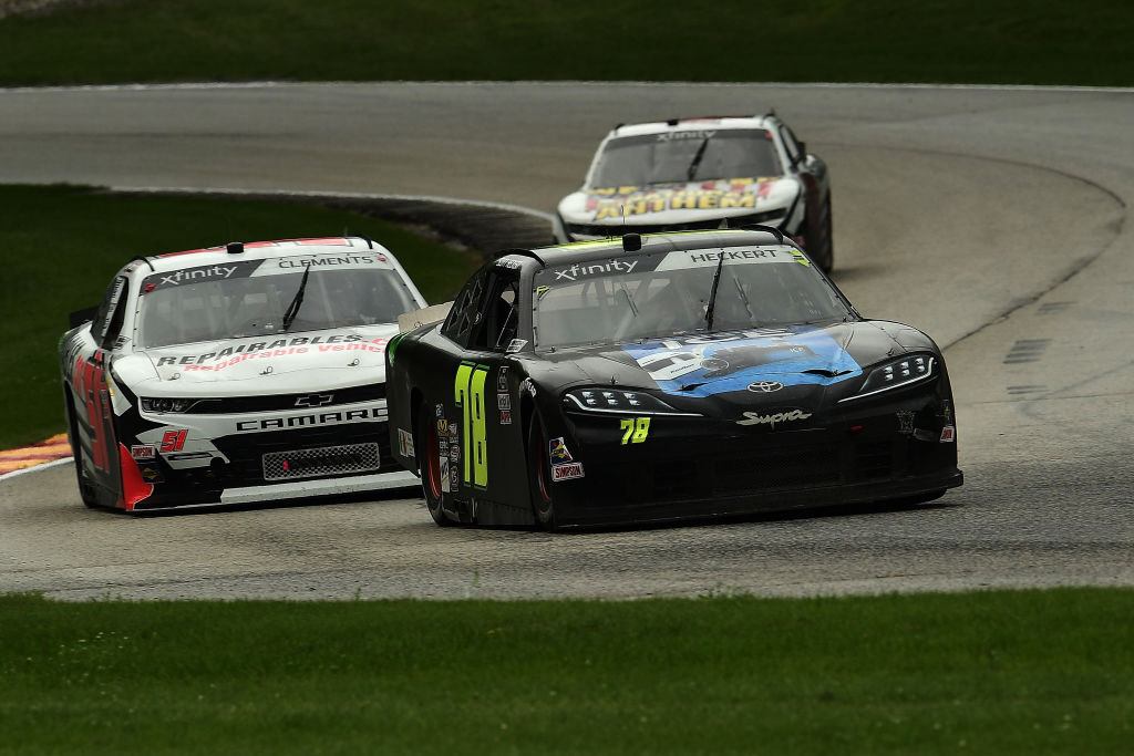 ELKHART LAKE, WISCONSIN - AUGUST 08: Scott Heckert, driver of the #78 Koolbox Ice/JW Transport Toyota, leads a pack of cars during the NASCR Xfinity Series Henry 180 at Road America on August 08, 2020 in Elkhart Lake, Wisconsin. (Photo by Stacy Revere/Getty Images) | Getty Images