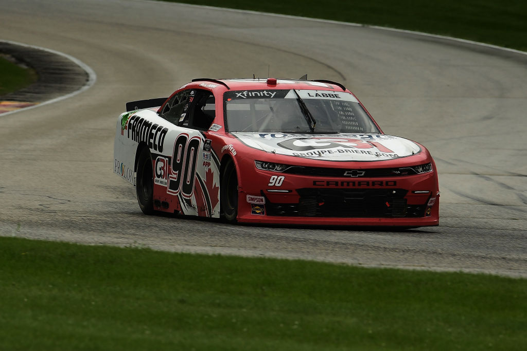 ELKHART LAKE, WISCONSIN - AUGUST 08: Alex Labbe, driver of the #90 Frameco/Prolon/rousseau Chevrolet, races during the NASCAR Xfinity Series Henry 180 at Road America on August 08, 2020 in Elkhart Lake, Wisconsin. (Photo by Stacy Revere/Getty Images) | Getty Images
